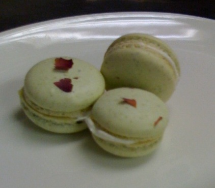 Pistachio Rose Macarons