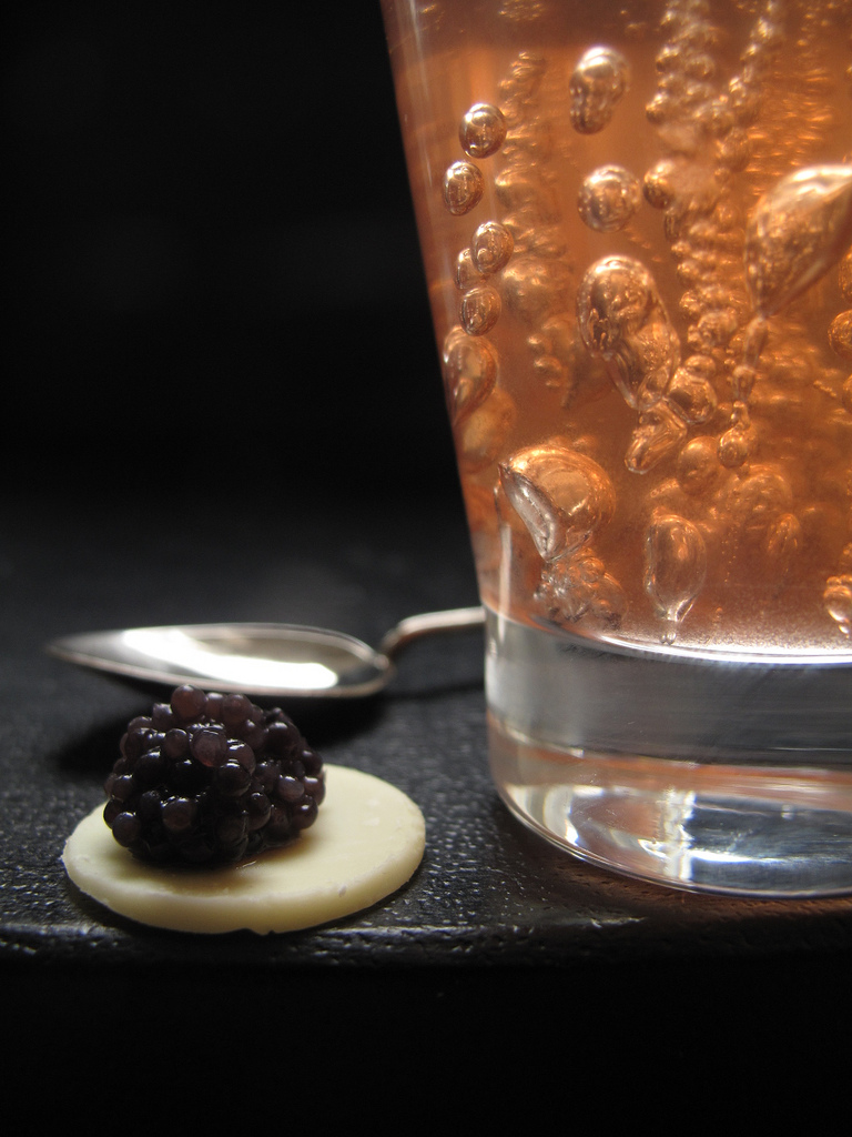 Wine Jelly, White Chocolate and Caviar Verrine