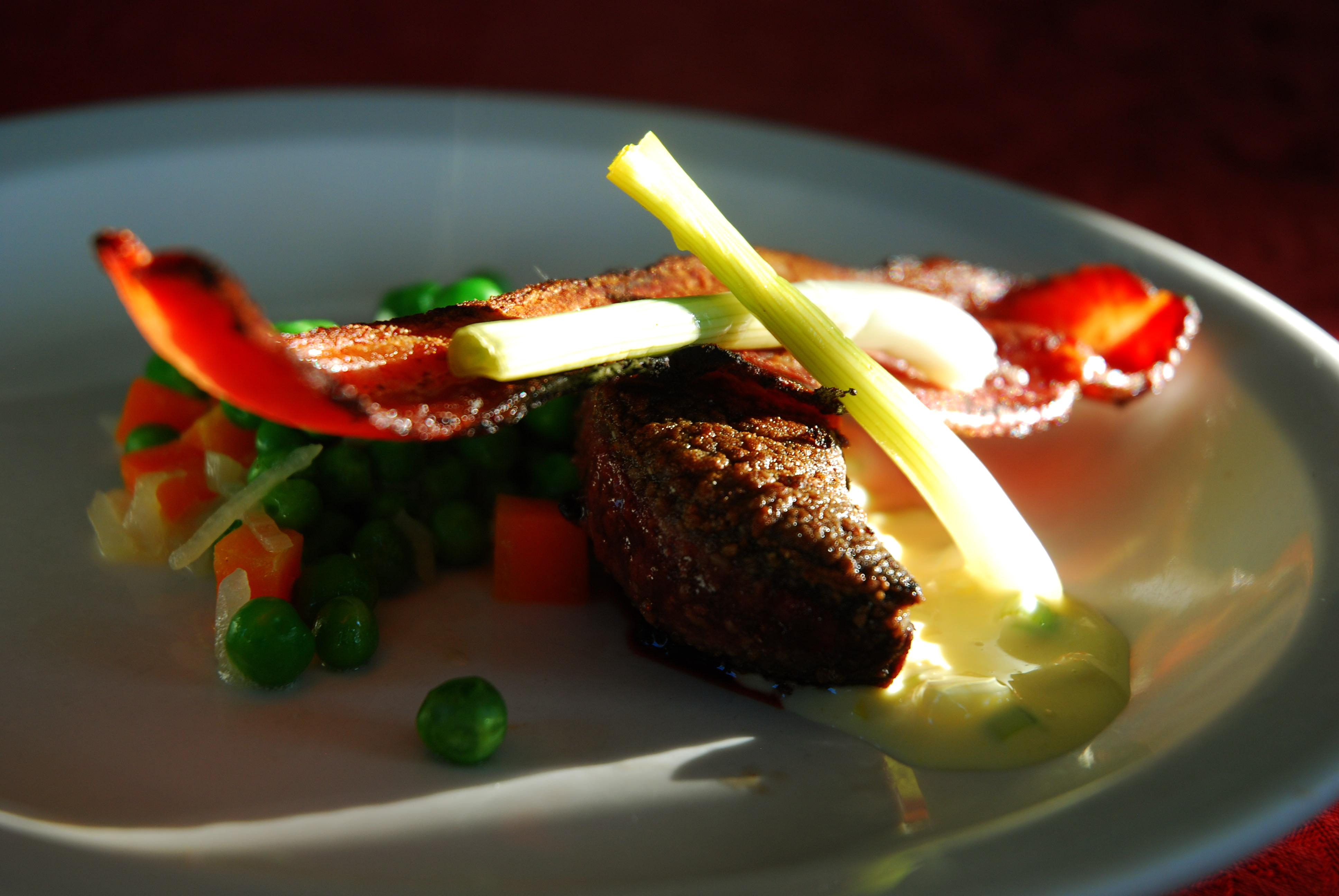 Lambs Liver with Pickled Spring Onions, Speck with Peas &amp; Carrots