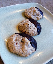 Chocolate Dipped Almond Hazelnut Macaroons