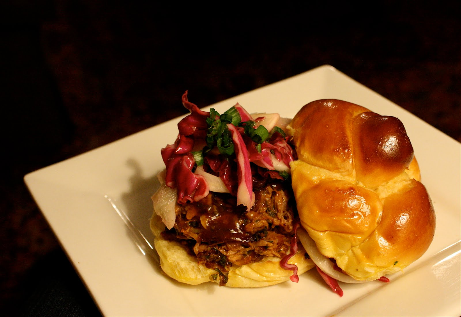 Pulled Pork Sandwiches with Cilantro BBQ Sauce and Fennel-Cabbage Slaw ...