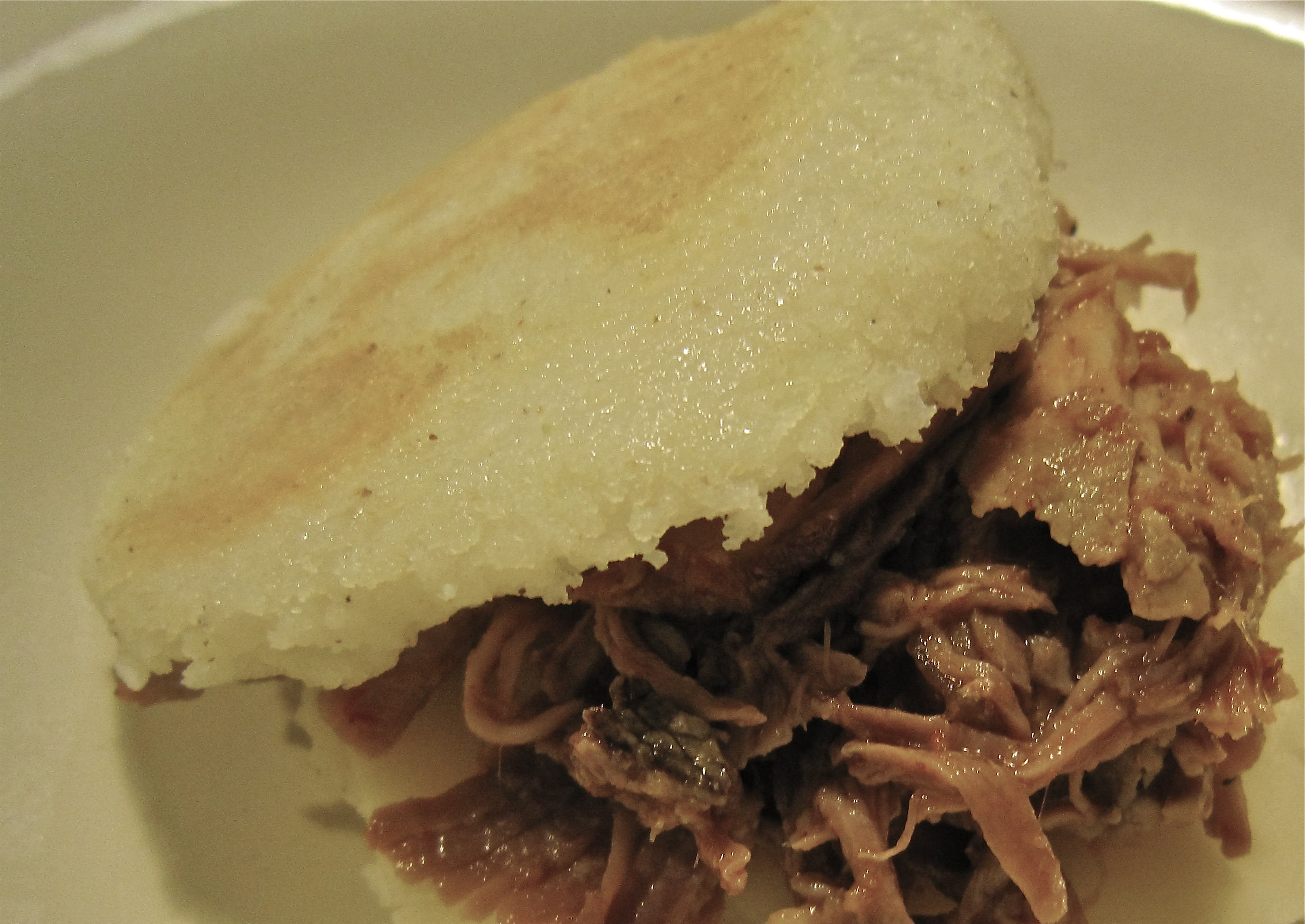 Glazed Roasted Pork Shoulder Arepas