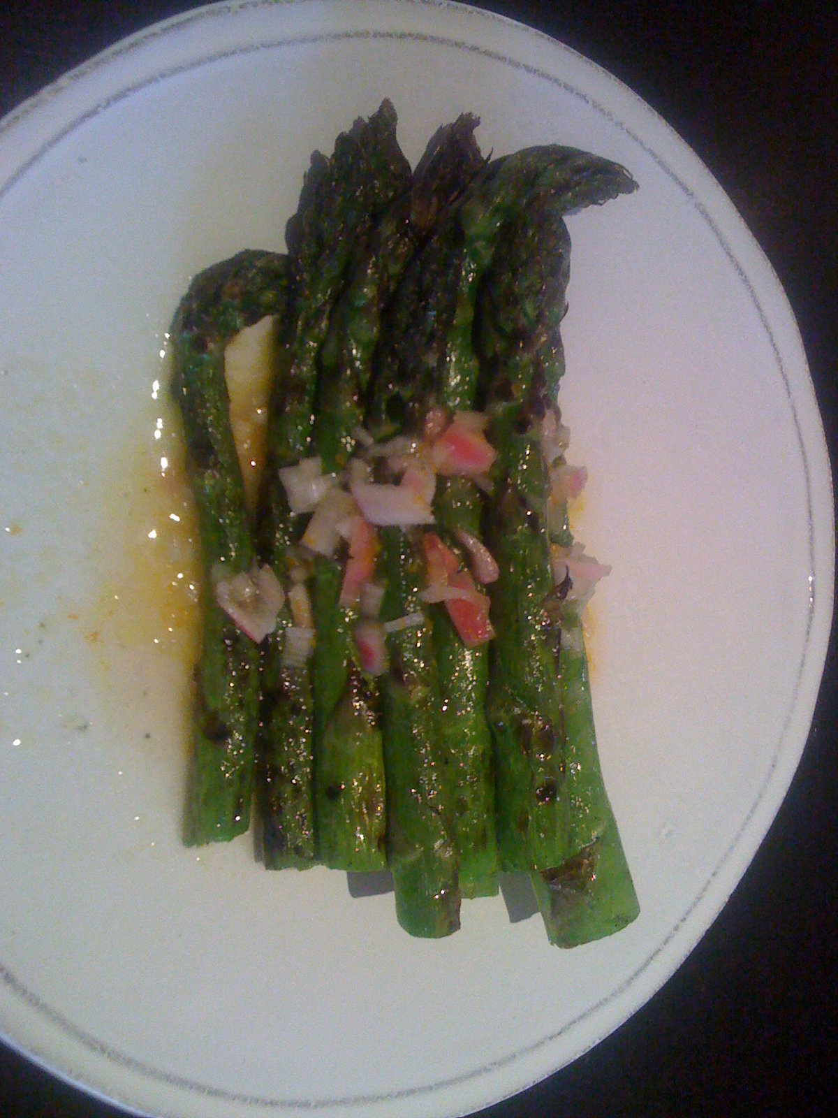 Grilled Green Asparagus with Shallot Vinaigrette recipe on Food52.com