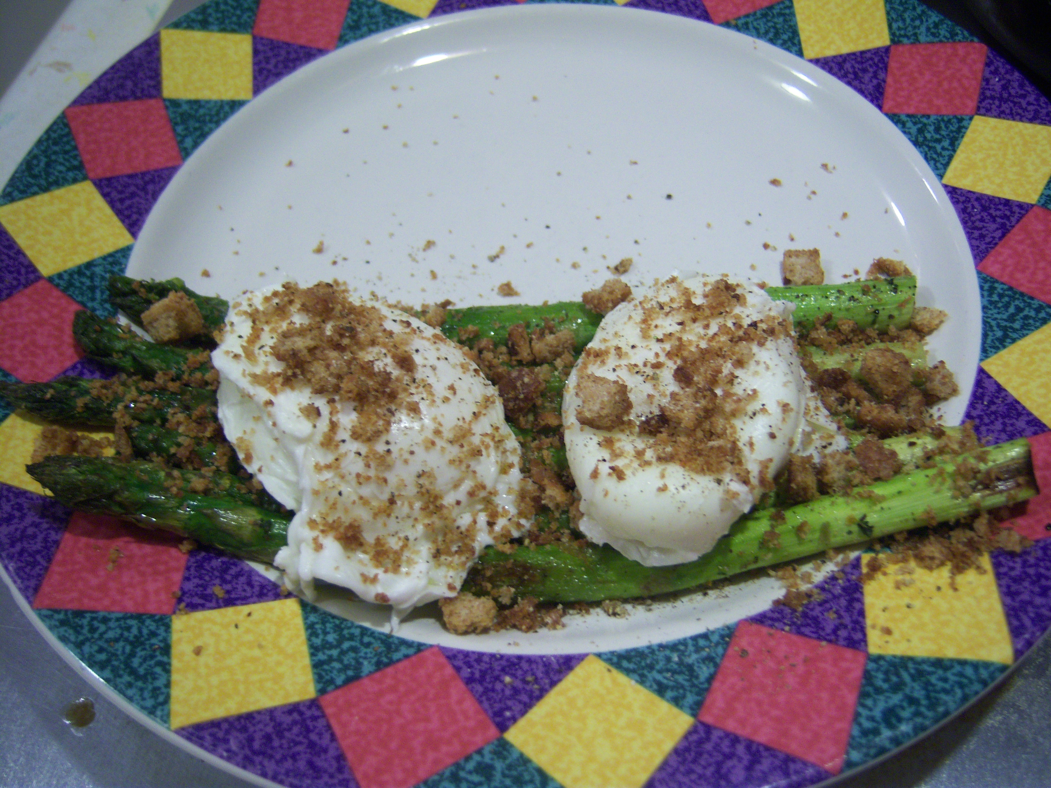 Tender Asparagus with Soft Poached Eggs, Mexican Tarragon and Italian Bread Crumbs