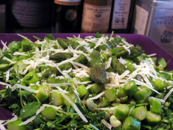 Asparagus, Fava Bean & Pea Shoot Salad