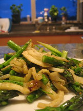 Sautéed Asparagus Spears & Ends w/ Roasted Fennel & Prosciutto