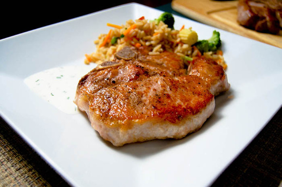 Pork Chops w/ Homemade Buttermilk Ranch