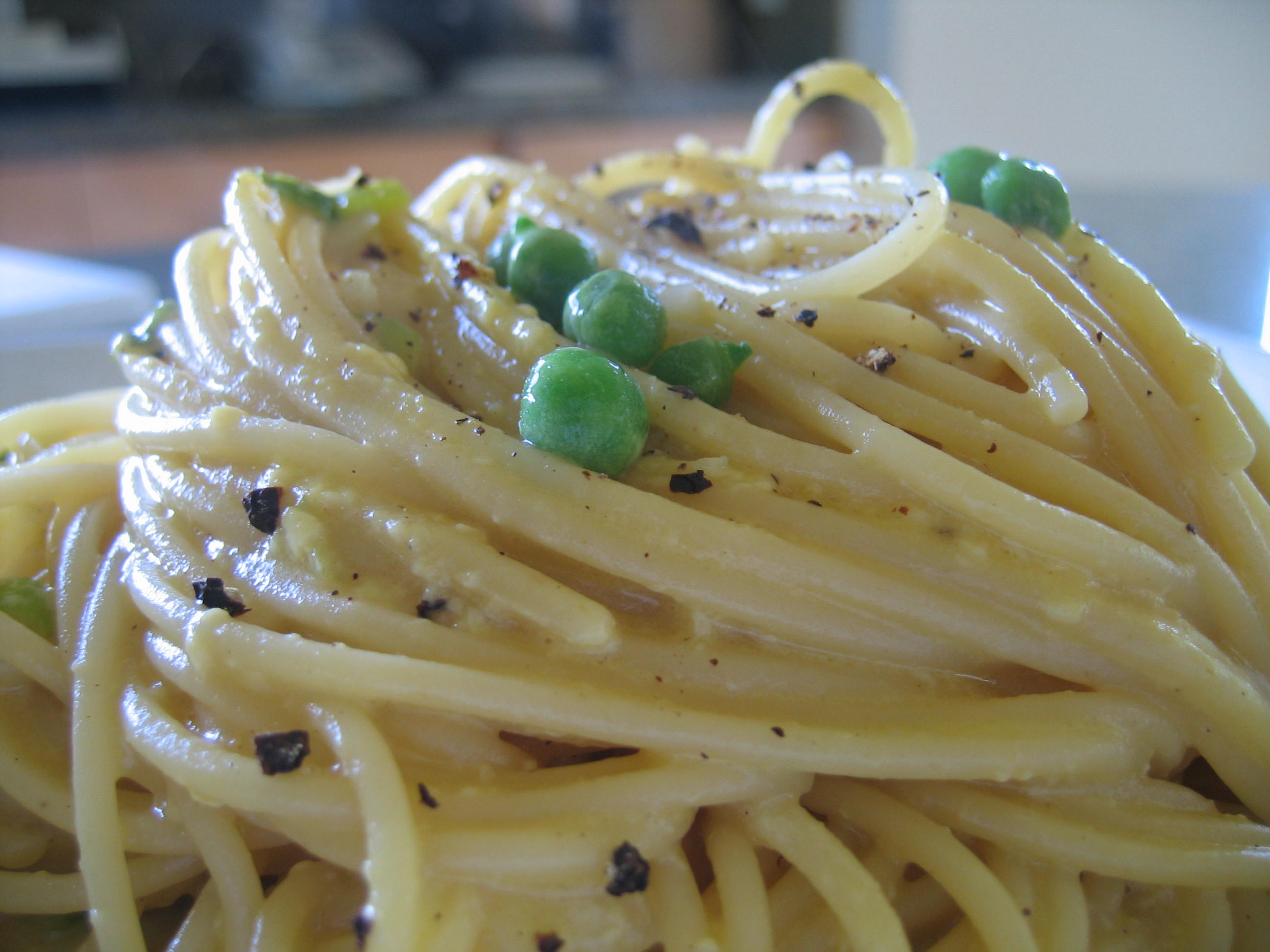 Lisa's (Somewhat) Vegetarian Lemony-Peppery-Spring Pea Pasta Carbonara
