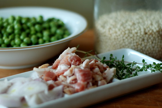 israeli couscous peas bacon