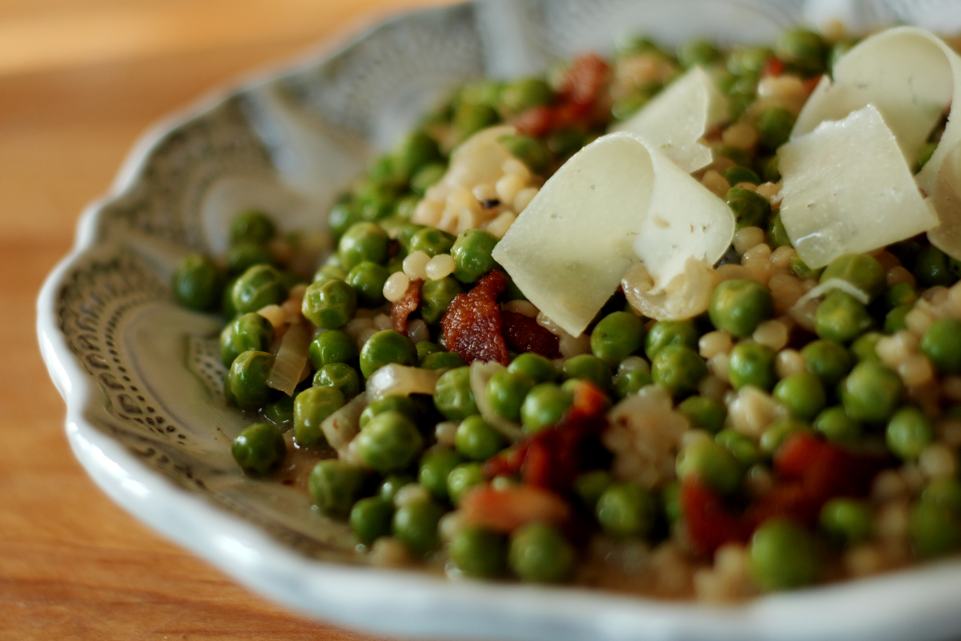 Israeli Couscous with Peas and Bacon