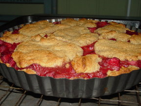 Rhubarb Cake Pie