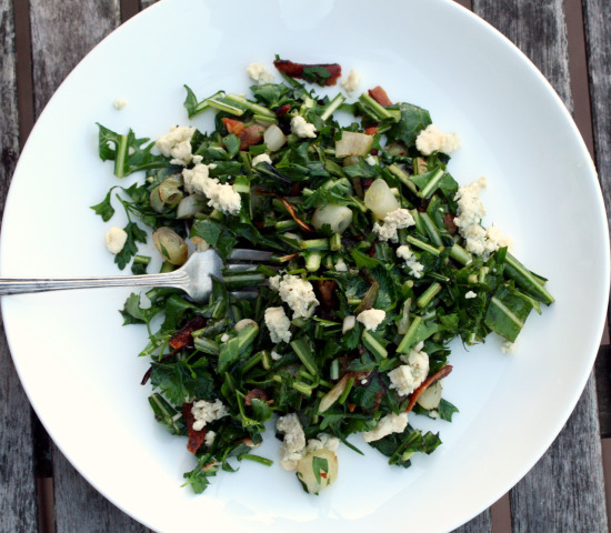 Assertive Green Salad with Ramps, Bacon and Blue Cheese