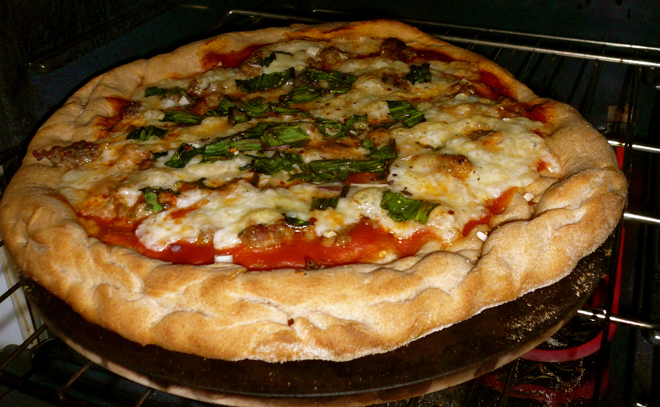 Sausage and Ramp Pizza with Goat's Milk Mozzarella and Half-Whole Wheat Sourdough Crust