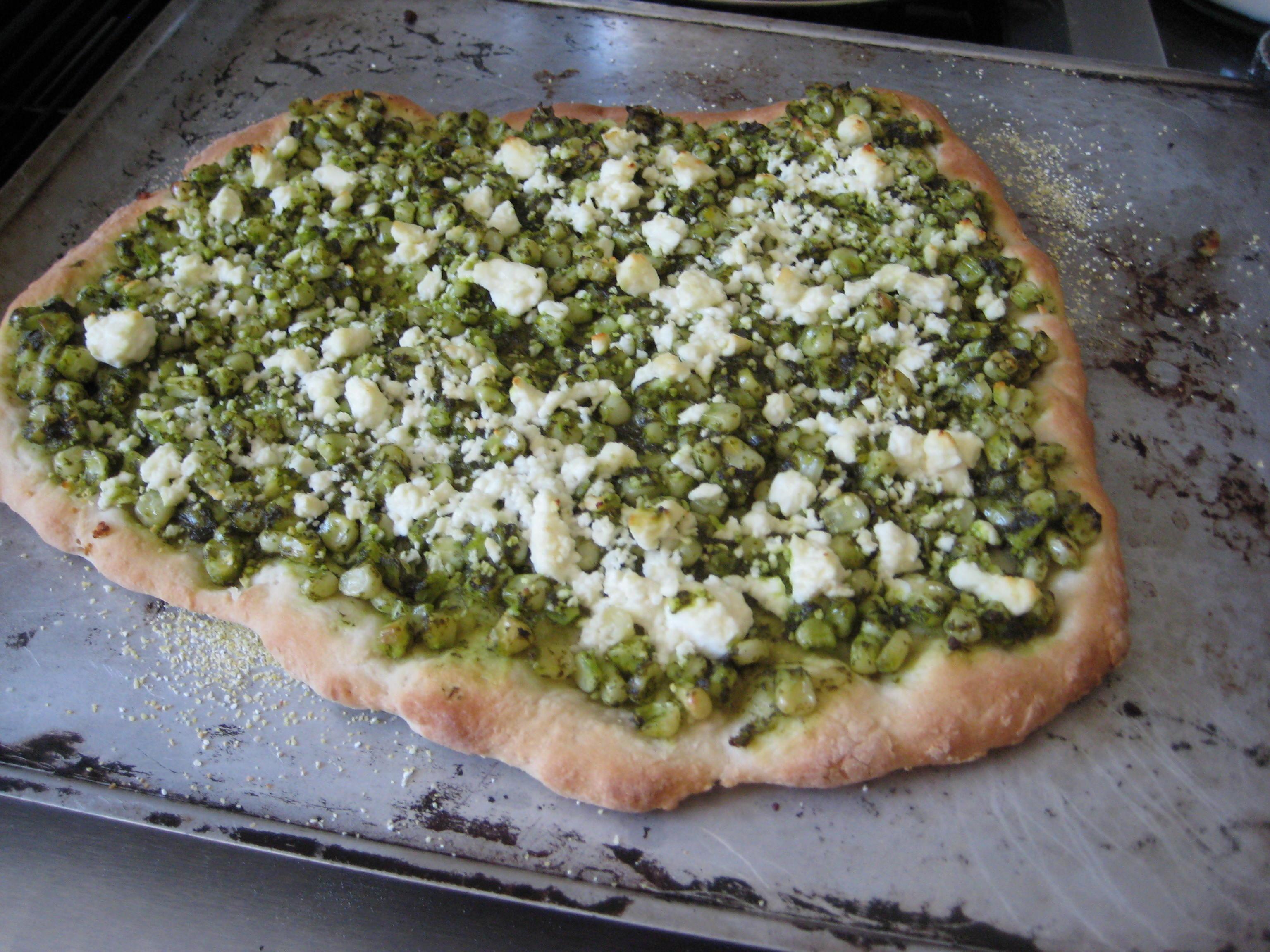Corn and Feta Pizza with Cilantro Lime Pesto Recipe on Food52