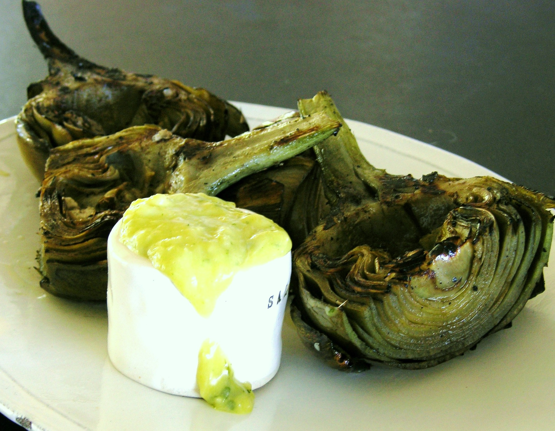 Tarragon-Lemon Aioli Served with Grilled Artichokes