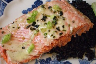 Salmon with Wasabi-Creme Fraiche