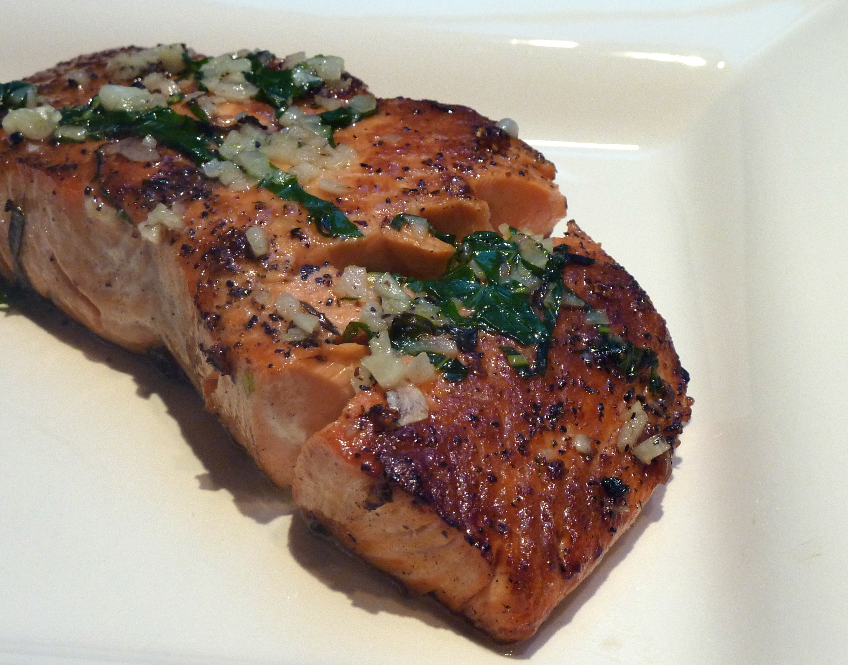 Grilled Salmon with Garlic-Basil Butter for Easy Entertaining Recipe ...