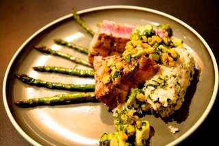 Grilled Ahi Tuna, avocado corn salsa, cilantro rice and asparagus