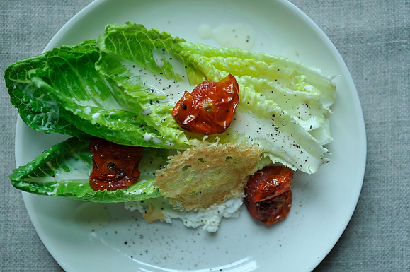 Goat Cheese Caesar Salad with Roasted Tomatoes and Parmesan Crisp