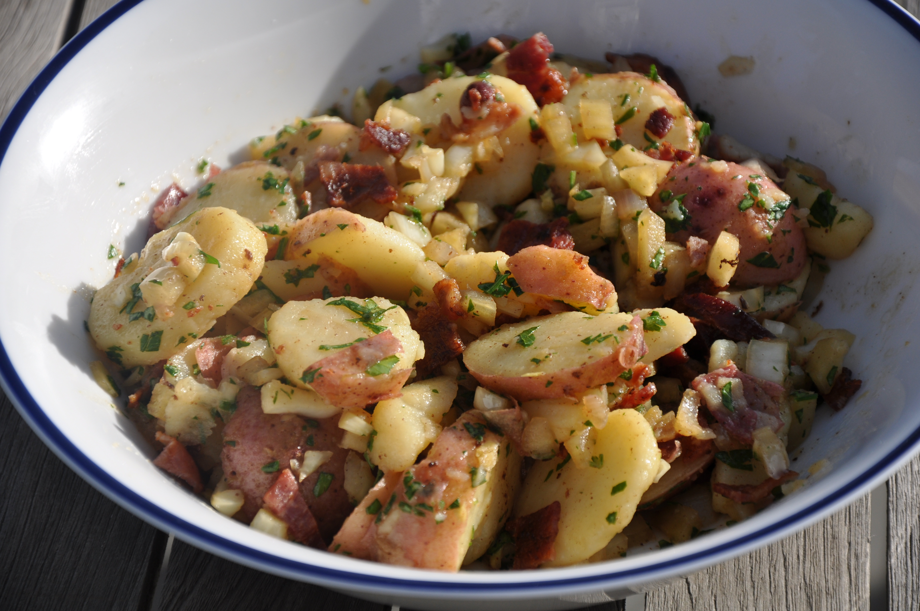 Potato Salad with Fennel and Shallot Relish and Bacon