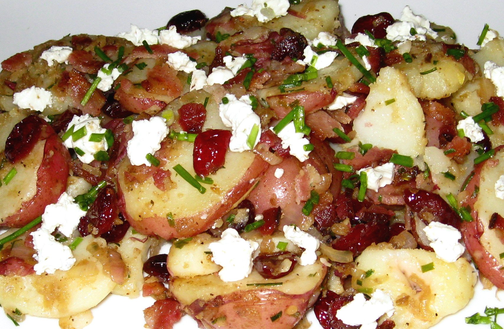 Country Style Potato Salad with Pancetta, Goat Cheese & Dried Cranberries