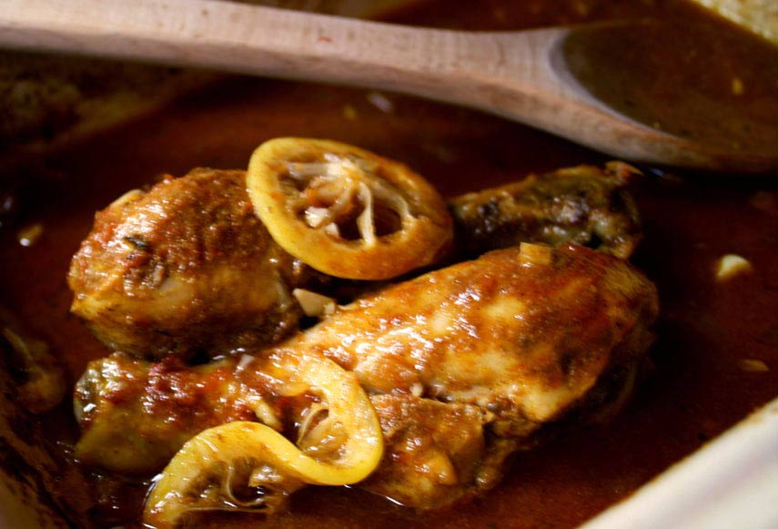 "Moroccan Chicken ""Tagine"" with Orange-Almond Couscous"