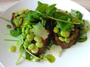 Summer Salad & Lima Bean Crostini with Shaved San Tumas Valtellina