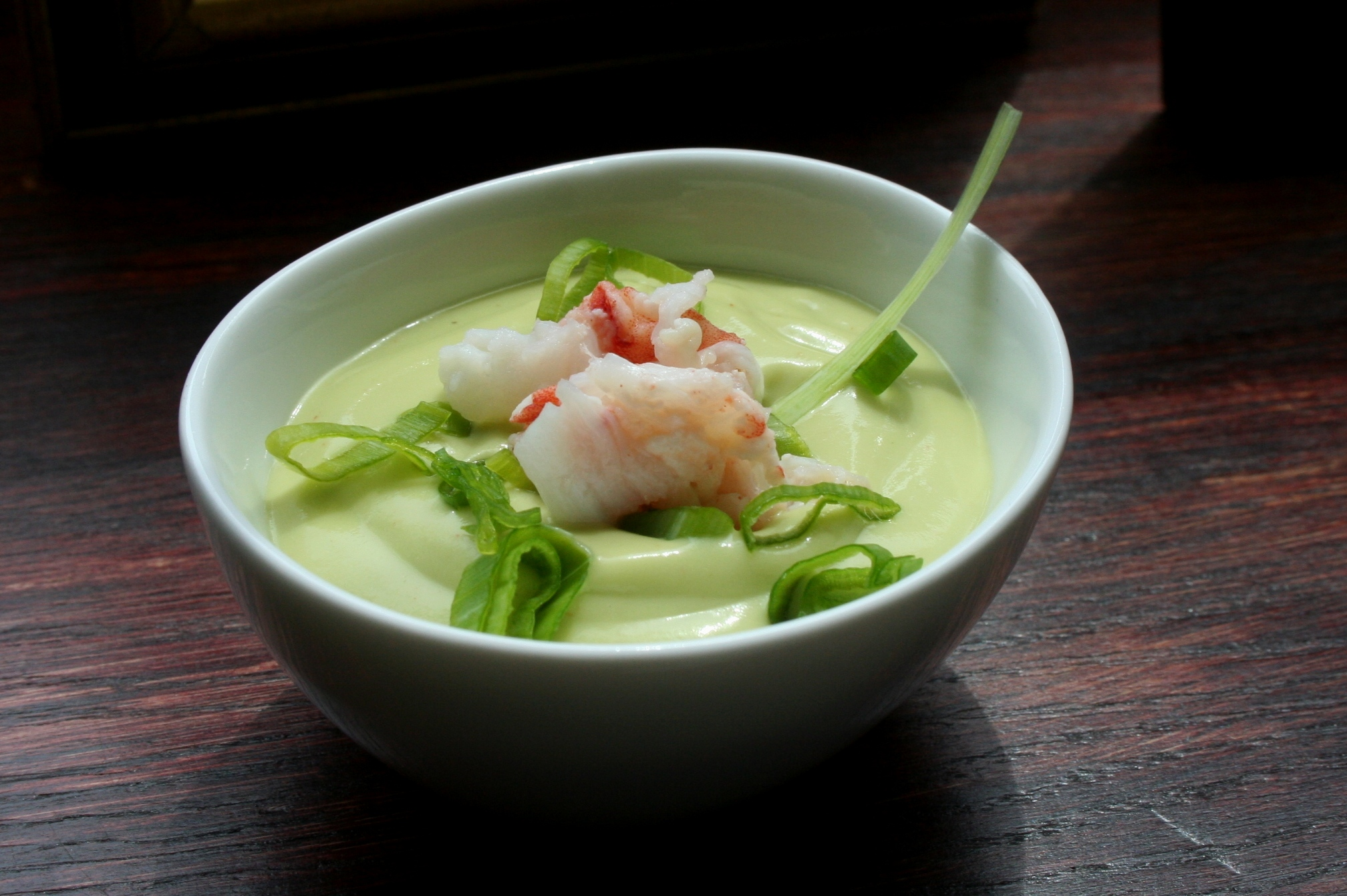 Cold Avocado Soup with Lobster and Scallions