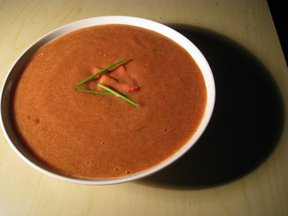 Strawberry Gazpacho with Strawberry Balsamic Compote