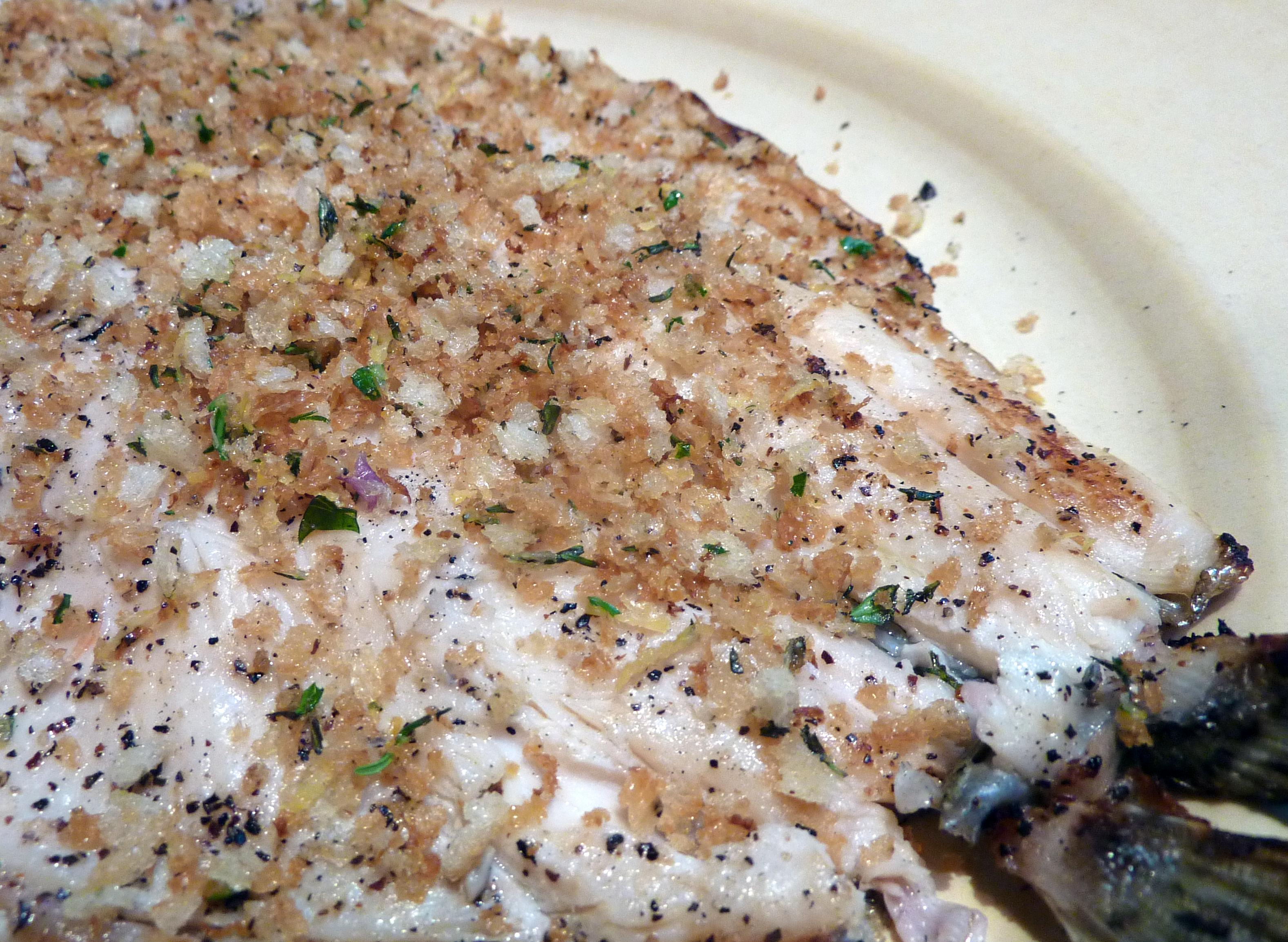 Grilled Trout with Lemon-Thyme Breadcrumbs