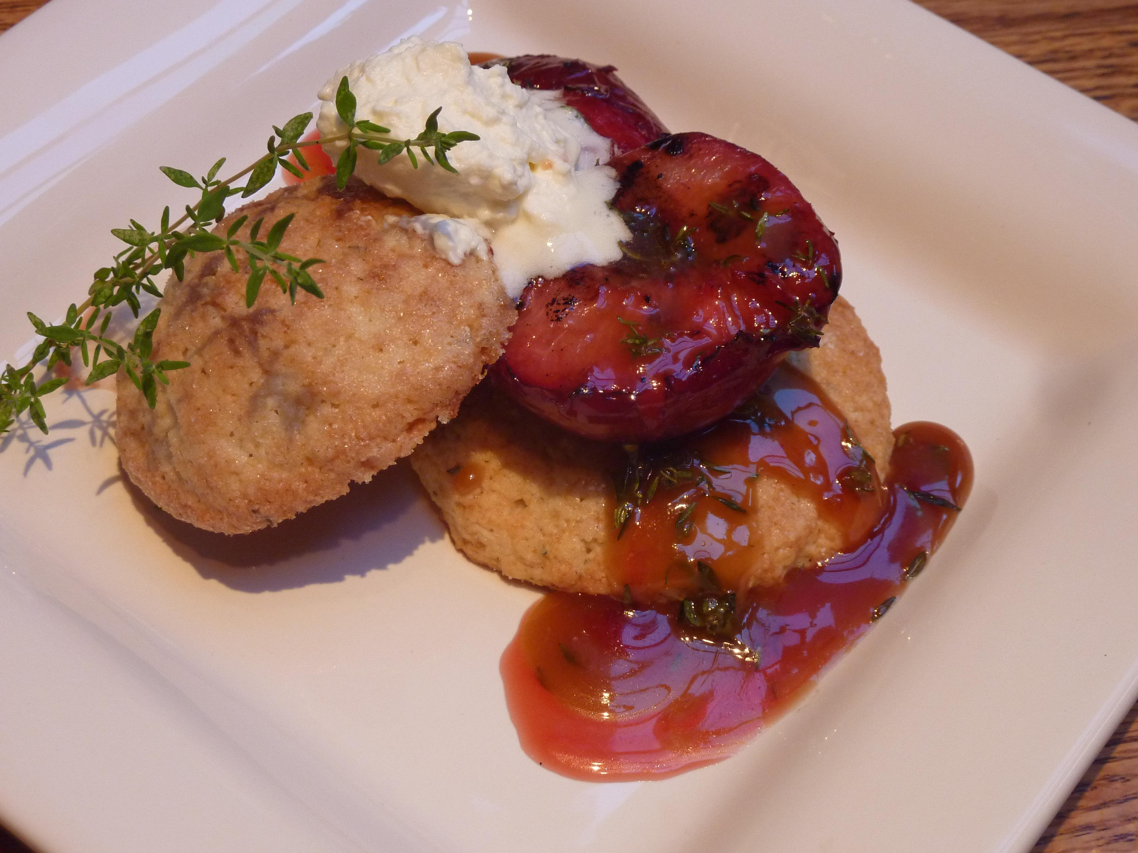 Grilled Pluots over Lemon-Thyme Shortcakes with a Honey-Thyme Caramel Sauce