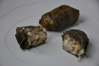 Grilled Grape Leaves Stuffed with Lemony Goat Cheese