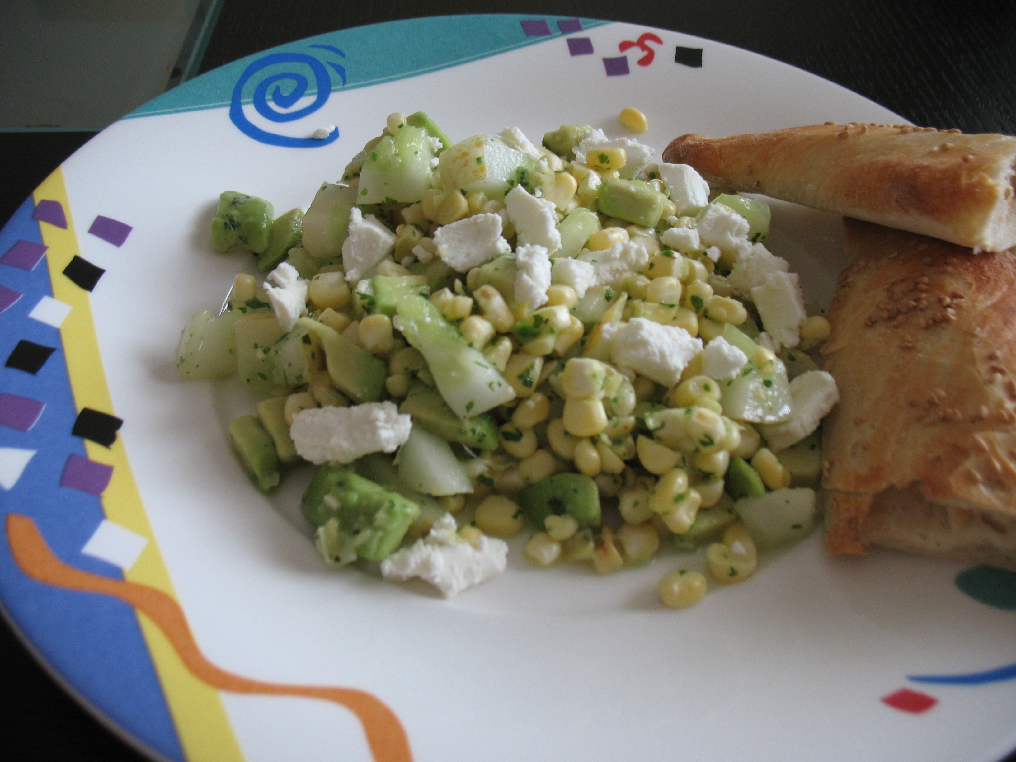Sweet Corn and Cucumber Salad with Goat Cheese