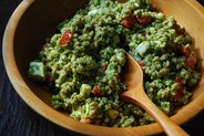 Farro &amp; Fresh Mozzarella Salad with Arugula Walnut Pesto