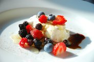 Burrata with Garden &amp; Wild Berries, Honey, Balsamic and Fresh Ground Pepper
