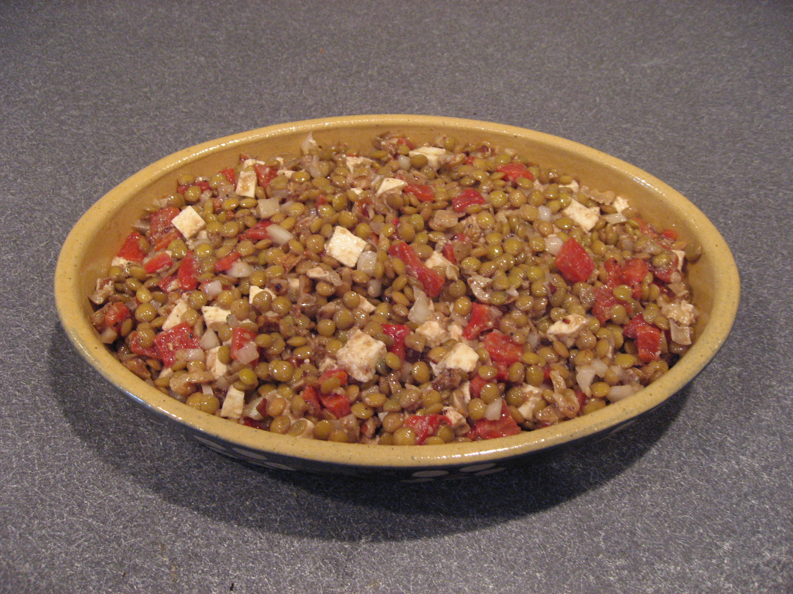 Lentil Salad with Smoked Mozzarella and Walnuts