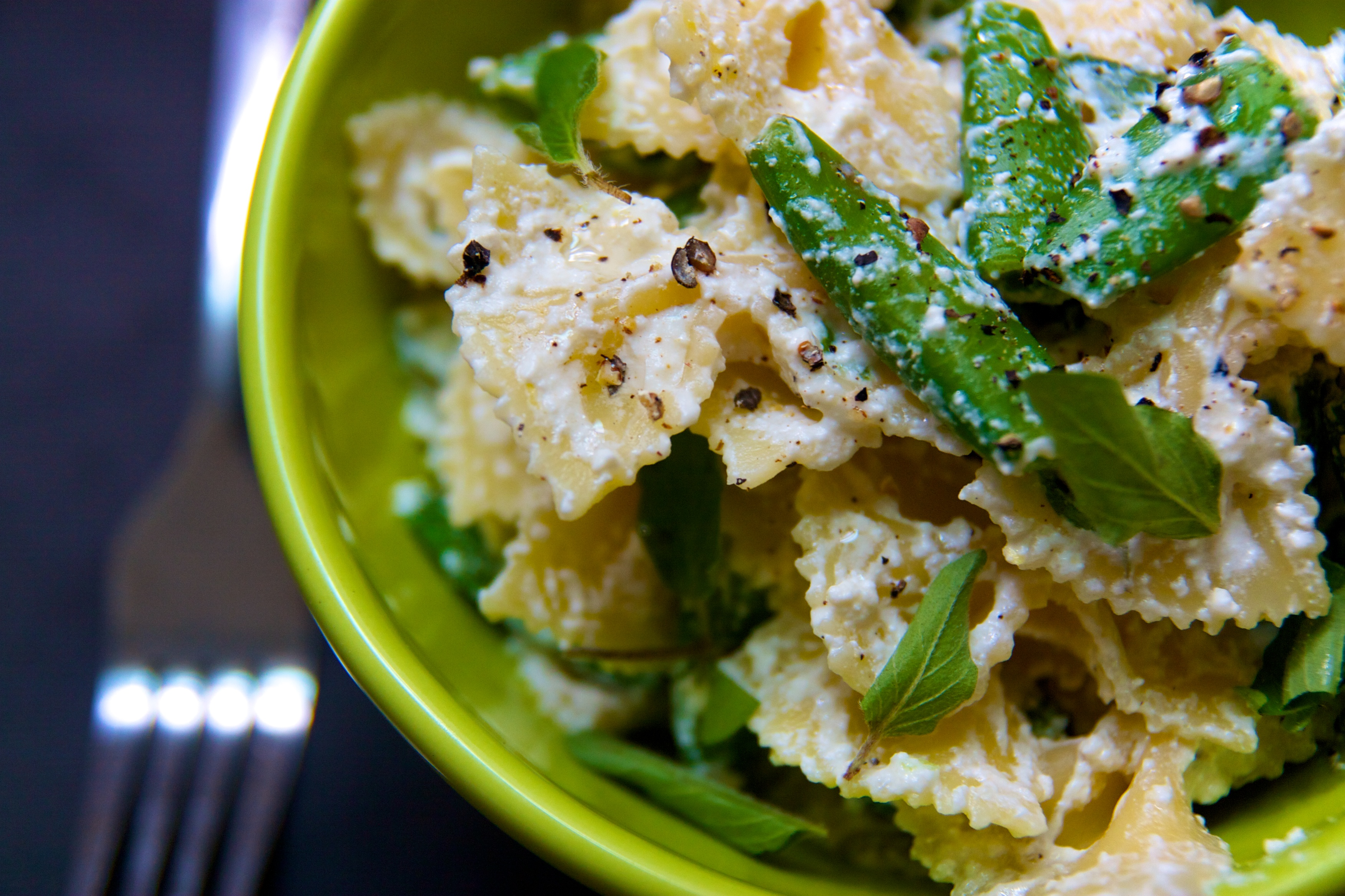 Farfalle with Lemon Scented Ricotta, Sugar Snap Peas and Oregano