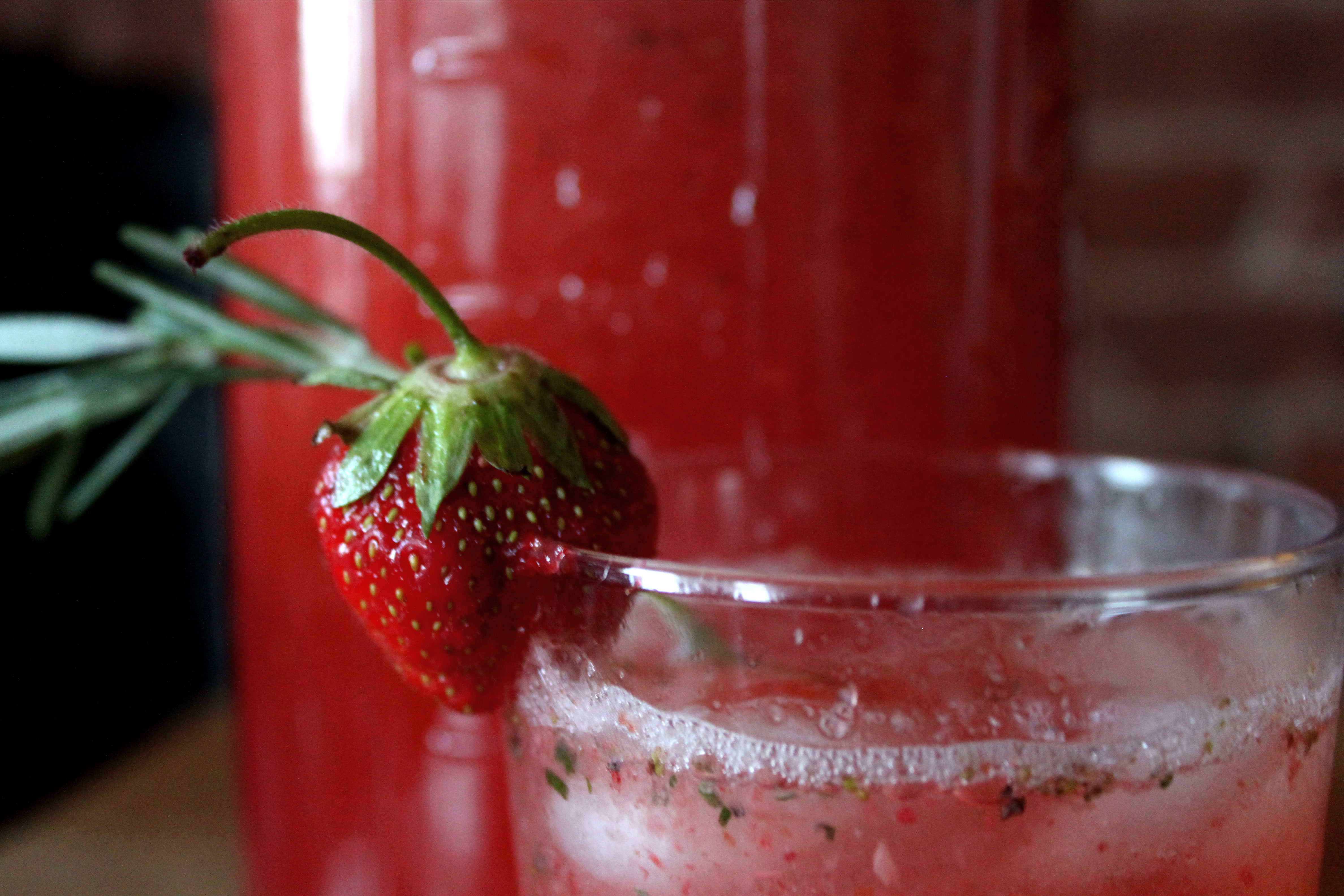 Strawberry and Rosemary Agua Fresca