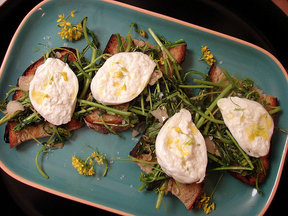 Burrata Bruschetta with Broccoli Rabe