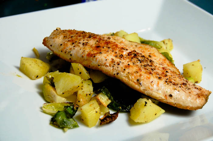 Pan Seared Trout w/ Roasted Brussels Sprouts & Potatoes recipe on ...