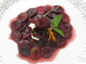 Carpaccio of Cherries with Creme Fraiche