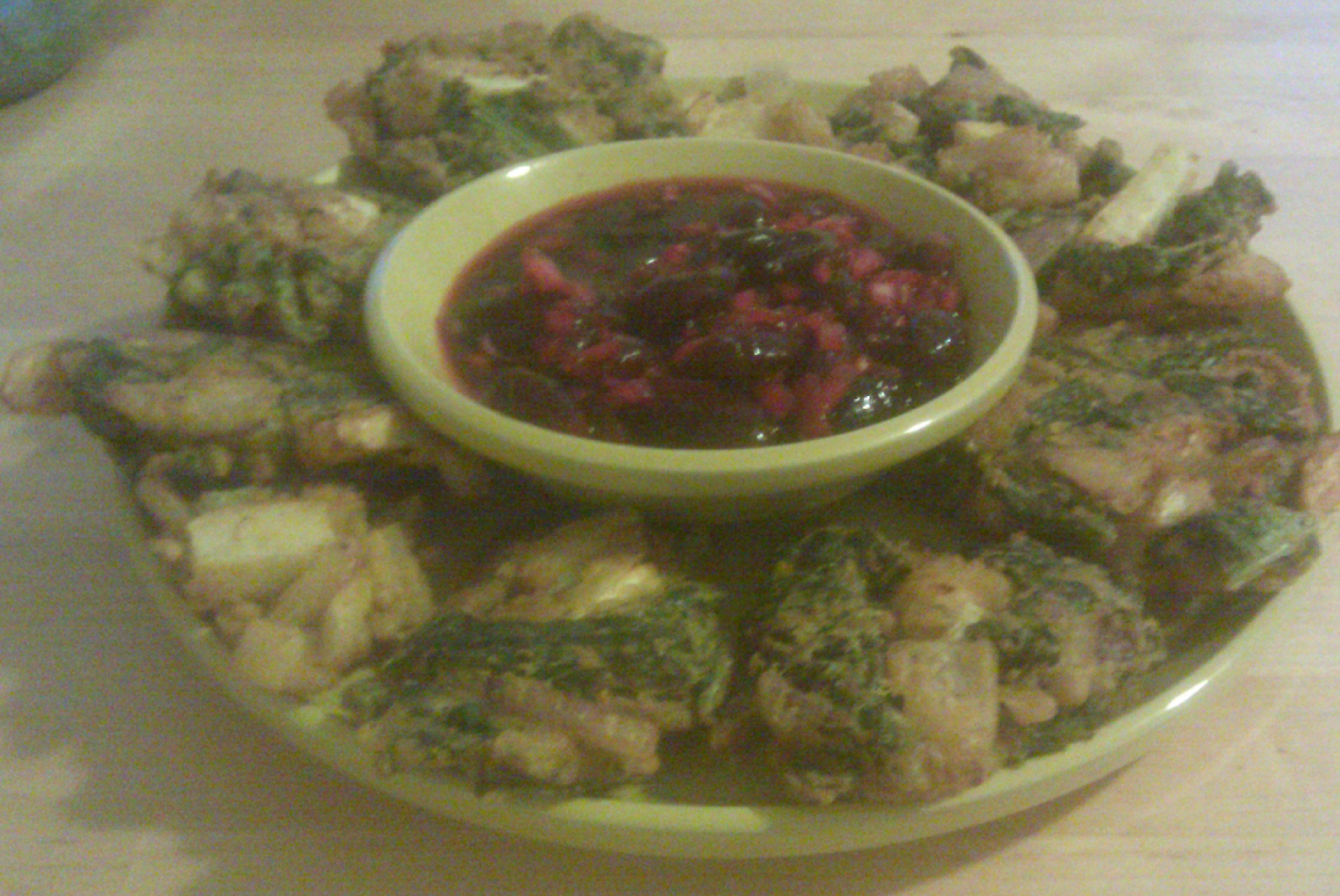 Vegetable Pakoras with Cherry Chutney