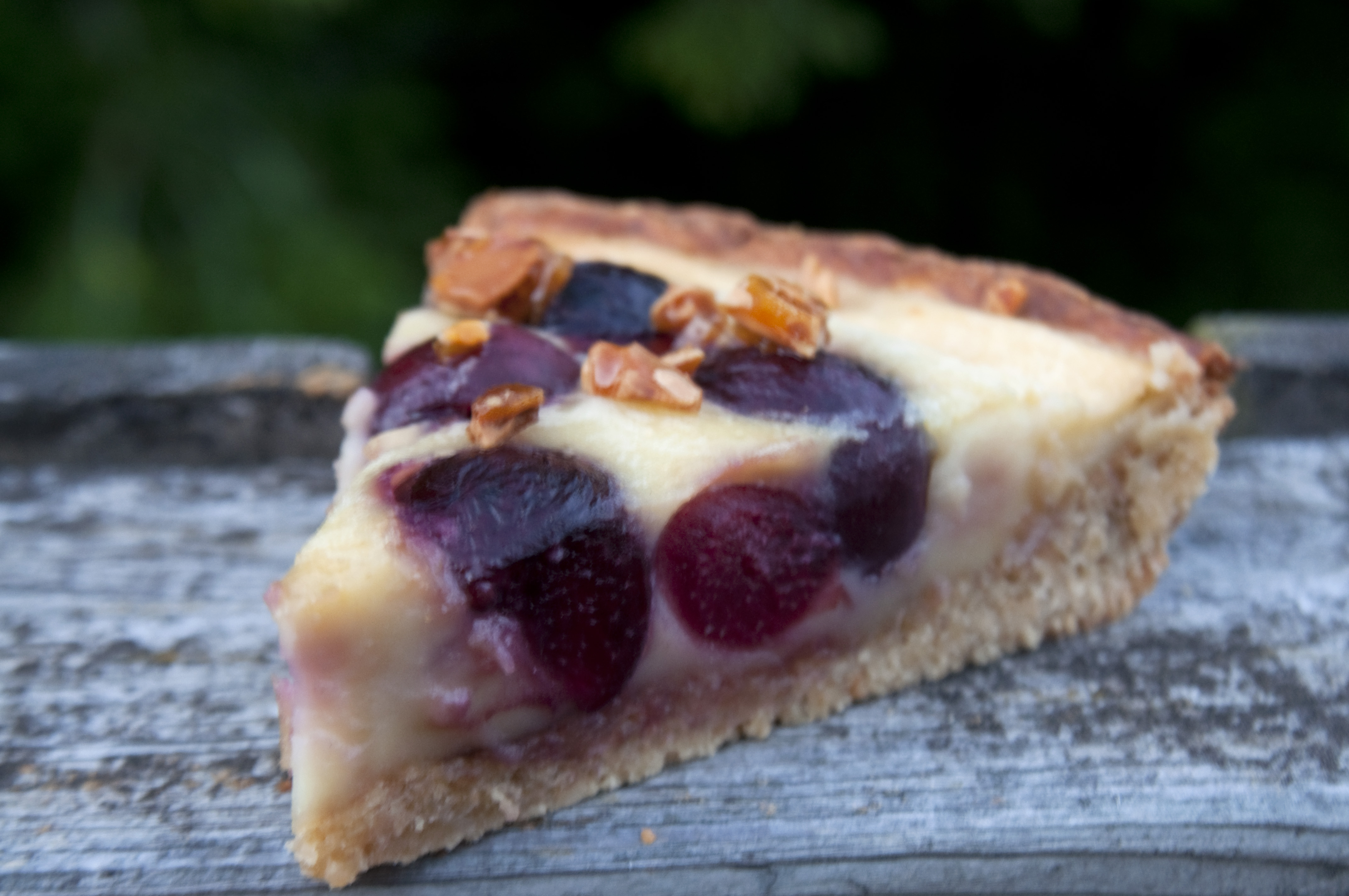 Cherry Amaretto Clafouti Tart with Almond Praline