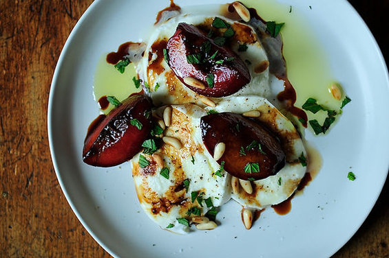 Buffalo Mozzarella with Balsamic Glazed Plums, Pine Nuts, and Mint