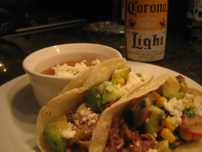Slow Cooked Pork Carnita Tacos with Corn and Avocado Salsa Recipe on ...