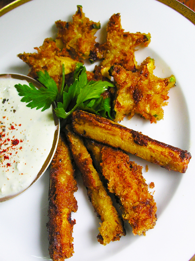 Fun with zucchini fries: stars and stripes