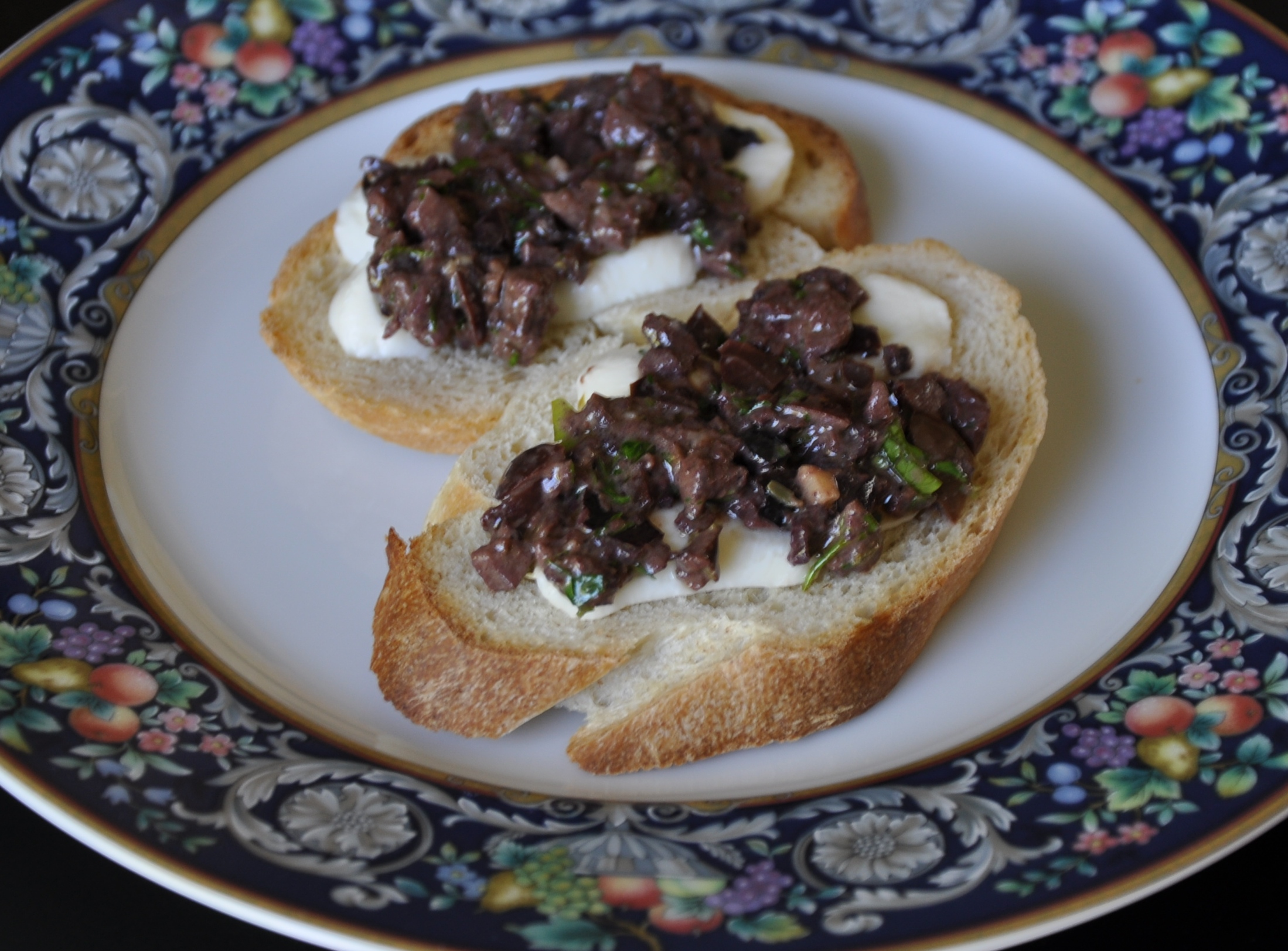 Burrata and Olive Tapenade Crostini