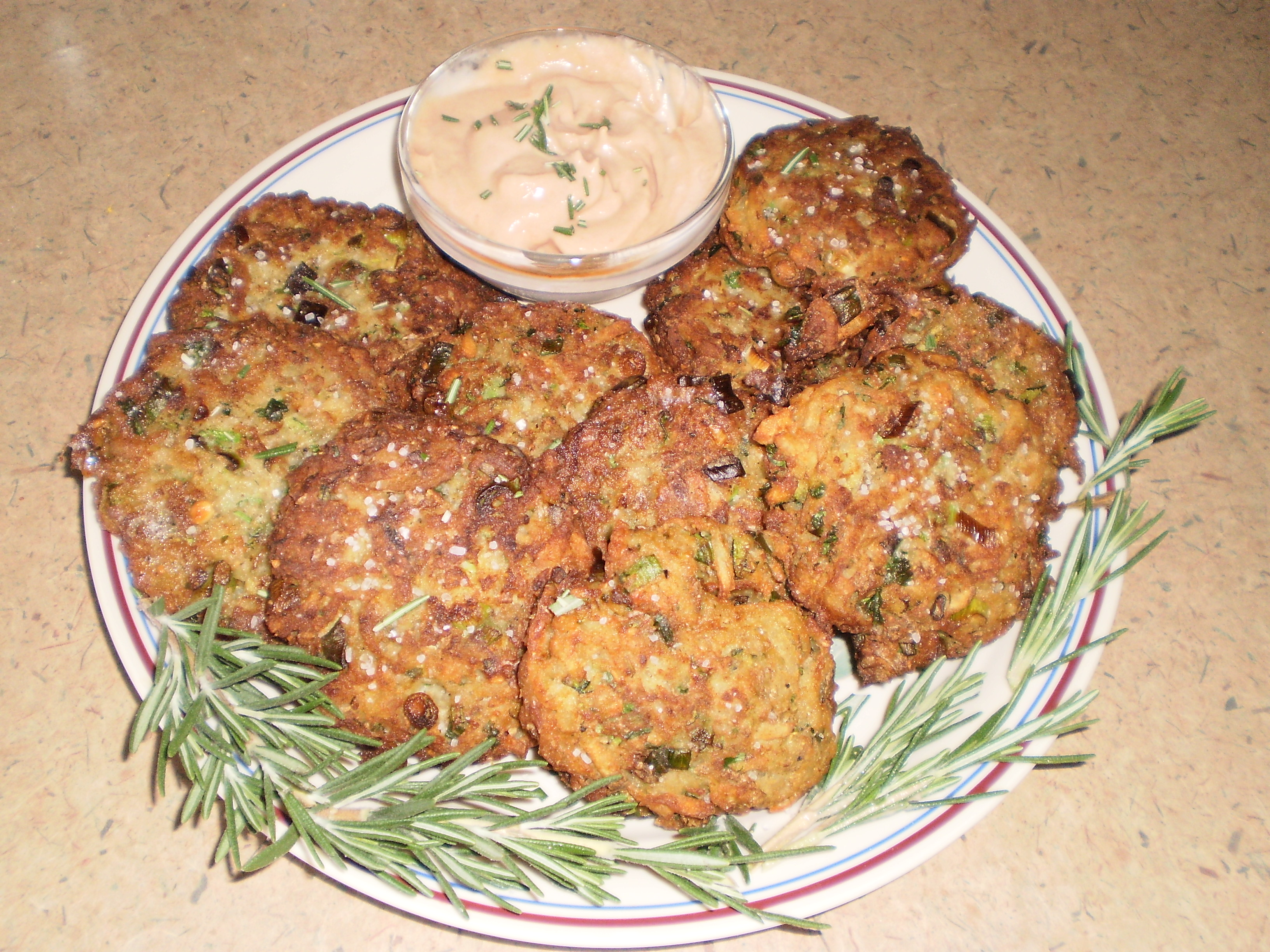 Zucchini, Rosemary, Potato Pancakes with Raspberry Chipotle Creme