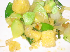 Summer Squash Sautéed with Polenta Chunks and Snow Peas