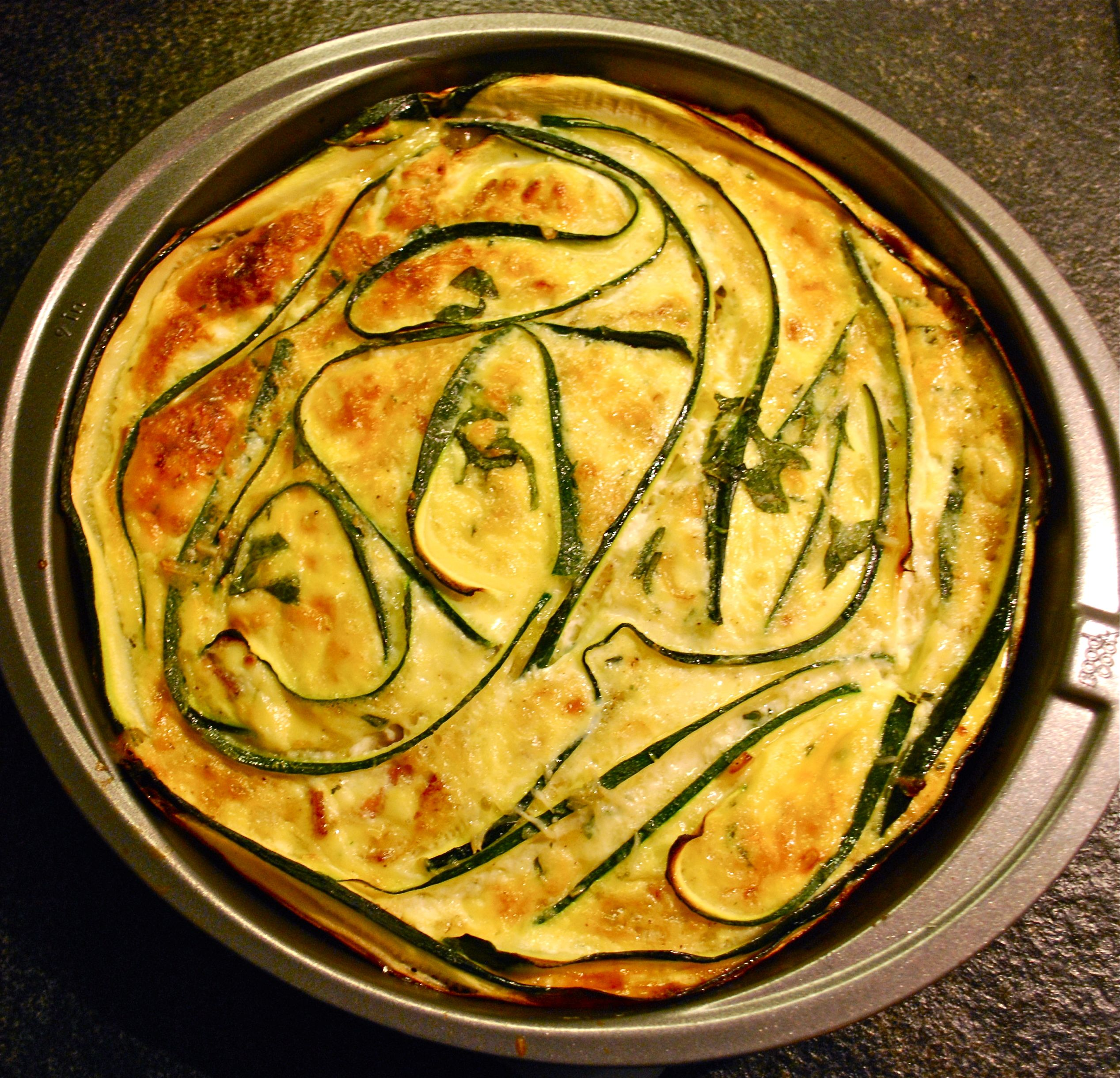 Zucchini Ribbon Quiche with Roasted Grape Tomatoes